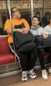 大鶴肥満が電車に乗っている画像